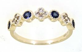 Zaffiro Blu Gemma 14K Oro Giallo 0.43CT Vero Diamante Naturale Fascia Gi... - $295.70