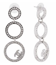 100% AUTH CHANEL Large CC Diamantes Crystal Hoop Dangle Drop Earrings Silver