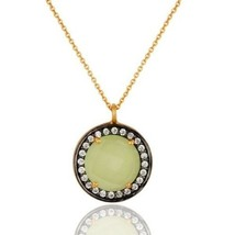 Natural Prehnite Chalcedony CZ Gold Plated 925 Sterling Silver Pendant J... - $21.78