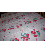wilendur strawberry and flowers vintage tablecloth - $35.00