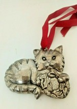 Darling Gorham Silver Plated Cat Christmas Tree Holiday Ornament Decorat... - $9.85