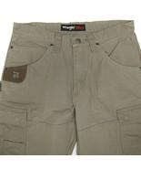 Wrangler Riggs Workwear Khaki Canvas Cargo Work Pants Mens 33x30 - $34.56