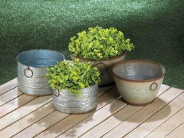 Galvanized Planter Set Available in Two Shapes - $69.95+