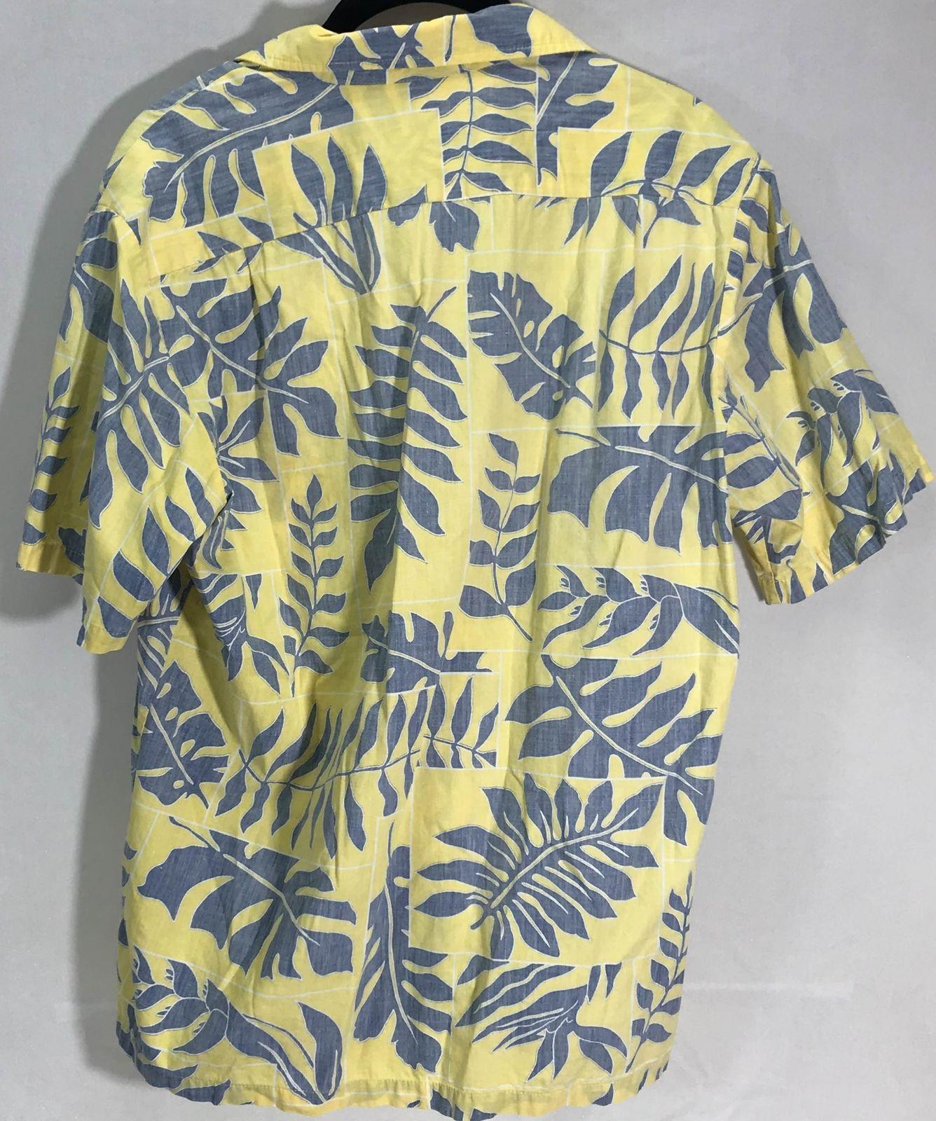Cooke Street M Hawaiian Yellow Blue Leaves Reverse Print Pullover Aloha Shirt