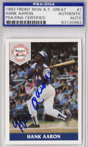 Hank Aaron Signed Atlanta Braves 1992 Front Row Card #1 - PSA/DNA - $195.00
