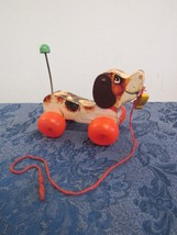 1965 Fisher Price Little Snoopy Wheel Wood Pull Toy w/Original Shoe #693  - $14.86