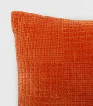 Oversized Velvet Grid Square Throw Pillow Orange - Threshold 24'' X 24''   NEW ! image 3