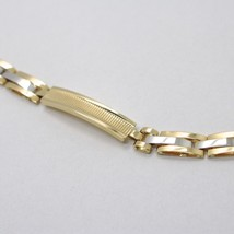 18K WHITE YELLOW GOLD BRACELET WORKED PLATE ALTERNATE STRIPED SQUARE CURVED LINK image 2