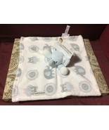 SECURITY Blankets & BEYOND Elephant Gray Blue Owl Gear Pattern Lovey Whi... - $44.55