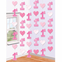 42 Foot Girl Pink 1st Birthday Party Hanging Six 7ft String Party Decora... - $4.16