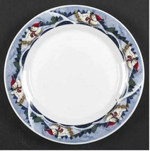 "11"" Round Platter/Chop Plate Snow Valley by ONEIDA  Blue Theme Snowman   - $14.01"
