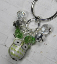 Green Owl Cluster Keychain Ceramic Crystal Beaded Handmade Split Key Rin... - $13.09