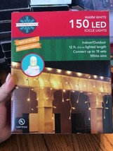December Home 150 LED ICICLE Lights 12ft. Indoor/Outdoor Ships N 24h - $21.76
