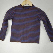 J Crew Boys Pullover Sweater Brown Striped Crew Neck Long Sleeves Wool B... - $11.87