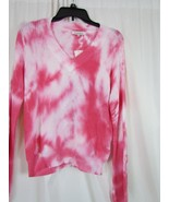 NWT Hooked Up V-Neck Pink Tie Dye Long Sleeve Sweater M Org $44.00 - $12.34