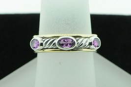 DAVID YURMAN Sterling Silver and 18K Yellow Gold 6 Oval Amethyst Band (S... - $375.00