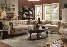 TUCSON Traditional Living Room Couch Set - NEW Beige Linen Fabric Sofa L... - $1,674.83