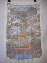 Vintage New England Covered Bridges Linen Dish Towel 25.5 x 15.5 inches - $5.93