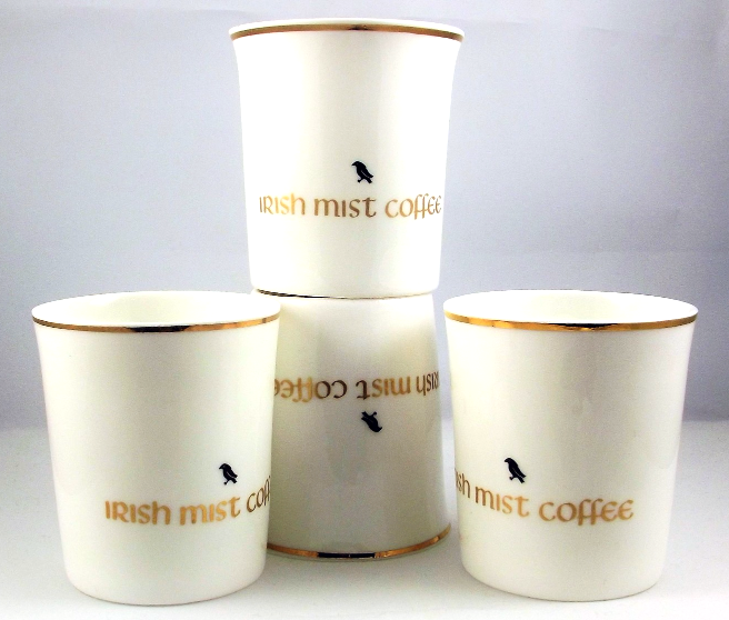 Royal Tara Irish Mist coffee cups with harp shaped handle Galway ireland