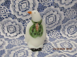 "FENTON ART GLASS 2002 WHITE SATIN ""WINTER"" PENGUIN FIGURINE~TAPIA - $55.00"