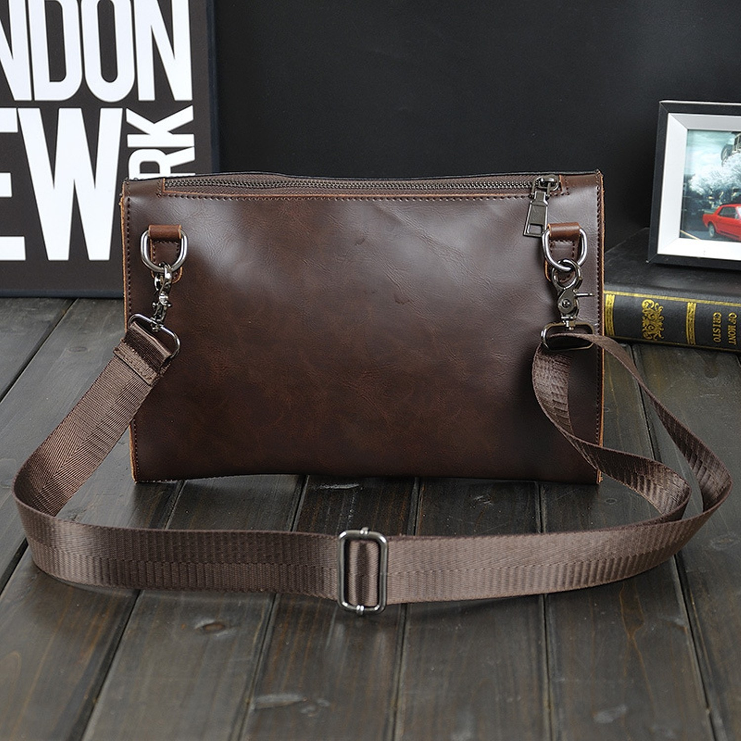Crazy Horse PU Leather Fashion Men Bags Men Messenger bags Business Men's Travel