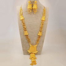 bride jewelry set gold color copper arab dubai necklace earrings african nigeria party thumb200