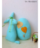 Easter Bunny & Egg Pillow-handmade easter decoration-  stuffed fleece toy - $762,40 MXN