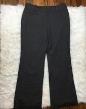 Ann Taylor Dress Pants Curvy Gray Houndstooth Print Trouser Wide Leg Sz 8  - $22.76
