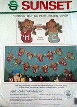 Sunset CROSS STITCH ON PERFORATED PAPER MERRY CHRISTMAS GARLAND New - $9.90