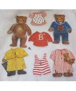 Older 8 Pc Teddy Bear Paper Doll Set 2 Bears w Clothes Great Shape 5 1/2... - $9.41