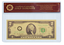 24K .999 Gold $2 Dollar Banknote with COA (Cert of Authenticity) BU COND... - $5.93