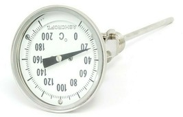 "ASHCROFT 0-200 DEGREE C THERMOMETER, ~5.25"" PROBE"