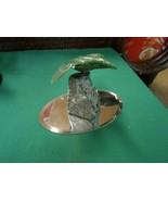 Magnificent Alabaster BIRD Figure on Jade Stone with Mirror Stand - $74.83