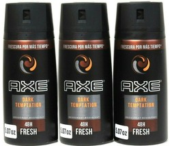 (Pack of 3) Axe Dark Temptation 48 Hour Fresh Deodorant Body Spray 5.07 Oz  - $22.76