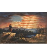 Wall Decor Poster.Home Room interior art design.American Army Flag Sunse... - $10.89+