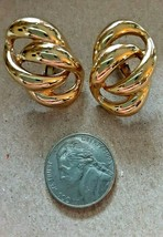 VINTAGE GOLD TONE NAPIER DOUBLE LOOP SCREWBACK/CLIP-ON EARRINGS - $15.00