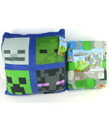 Minecraft Gaming Blanket And Pillow Set Reversible Set of Two 100% Polye... - $37.61