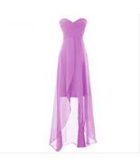 Simple Purple Chiffon High Low Bridesmaid Dress Sweet 16 Prom Gowns A Li... - $62.88