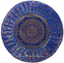 """Blau 16 """" Rund Kissenbezug Mandala Seide Brokat Indisch Dekorativer Über... - $9.79"""