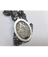 Necklace Oval Pendant Long Antique Silver Australian Opal Chips Handmade... - $25.00