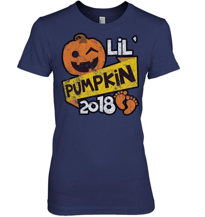 Funny Halloween Tshirt Lil Pumpkin Pregnancy Distressed