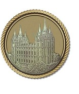 LDS Temple Salt Lake City Medallion for Box Cremation Urn/Flag Case -3 I... - $69.99