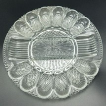 "L E Smith Heritage Deviled Egg Relish Tray Divided Plate Scalloped Rim 11"" - $21.28"