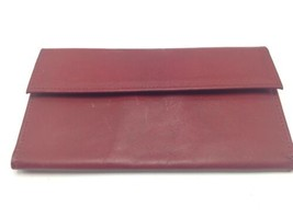 Vintage Rolfs Red Leather Clutch Checkbook Wallet Snap Closure - $26.11
