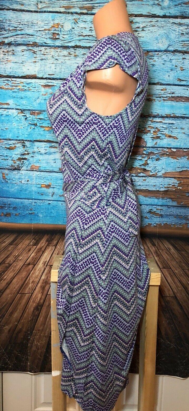 Old Navy Wrap Dress Purple Blue Zig Zag Chevron S Small
