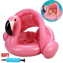 Baby Pool Float with Canopy Infant Swimming Float Flamingo (Cute Pink Fl... - $23.52