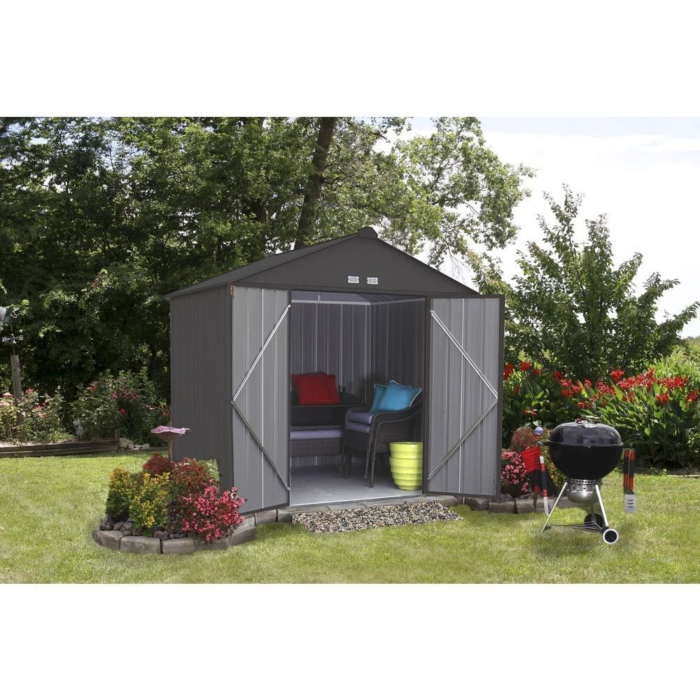 Storage Shed 8 x 7 Galvanized Steel Charcoal High Gable Outdoor Backyard Garden