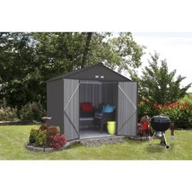 Storage Shed 8 x 7 Galvanized Steel Charcoal High Gable Outdoor Backyard... - $477.99