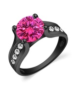 925 Sterling Silver 14k Black Gold Plated 1.75ct Pink Sapphire Wedding B... - $76.88