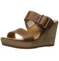 Women Timberland Brenton Buckle Slide Wedge Sandal Tan Brown A1GQB SIZE 9M - $89.09